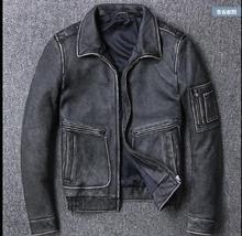 Darmowa wysyłka. Marka moda nowa odzież, męskie krowy skórzane kurtki, męska kurtka z prawdziwej skóry. vintage szary mężczyzna kurtka plus