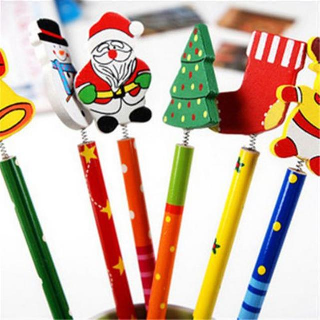 6PCS Creative  Children Stationery Pencil Korean Wooden School Desk Use Christmas Drawing Writng Pencil Standard Pencil 2