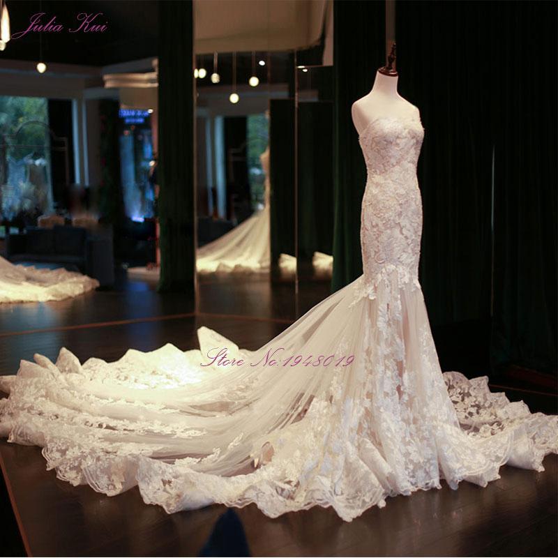 Julia Kui Imagens Reais Vestidos de Casamento Da Sereia Do Vintage Beading Bordado Apliques de Renda Elegantes Vestidos de Noiva Vestido De Noiva
