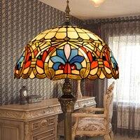 Тиффани европейского барокко сад цвет стекла торшер столовая украшения спальни лампы