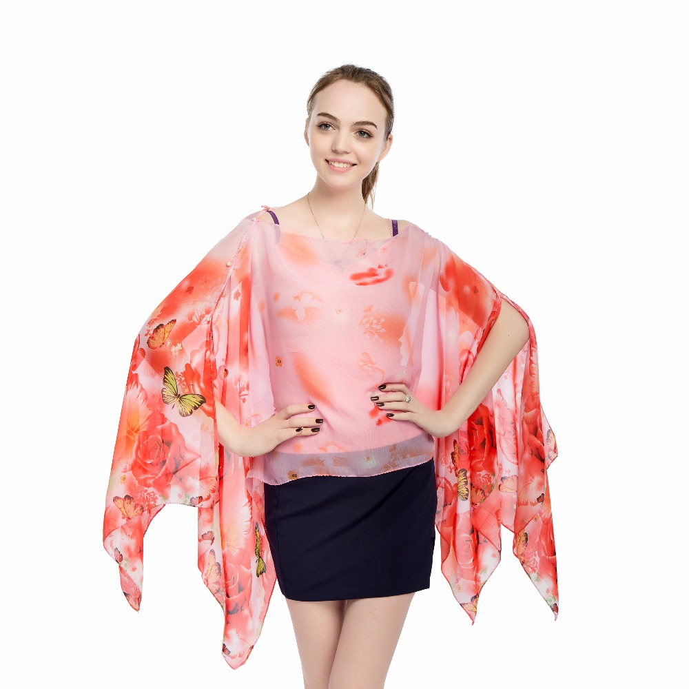 mujer cover-ups butterfly floral loose bikini sarong pareos kaftan summer beach swimwear shirt   scarf     wrap   chiffon   scarf