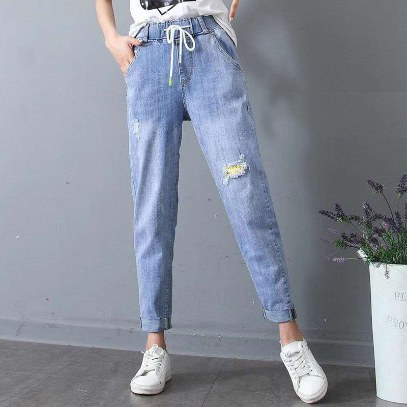 Spring Autumn Ripped Jeans Pants Woman High Waist Elastic Holes Female Mom Jean Women Lace Up Dress Long Blue Trousers Avbxcv