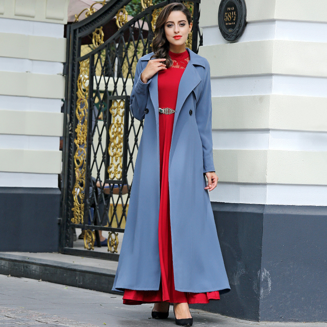 New Casual British Style Burderry Long Coat Women Double Breasted Slim Cut Turn Collar Long Maxi Trench Out Wear
