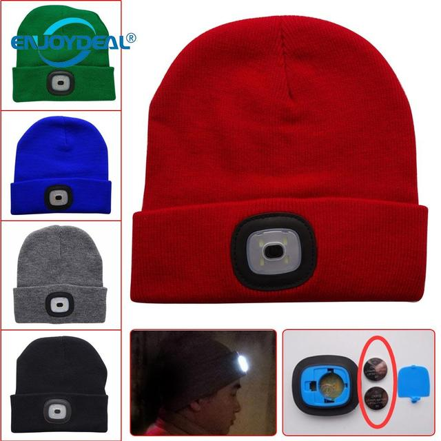 320c5246ded9c 4 LED Knit Warm Hat Button Battery Hands Free Powerful Flashlight Cap  Windproof Equipment for Outdoor