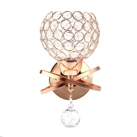 Fashionable Wall Light Bedroom Stair Night Lamp Crystal Wall Lamps E14 Single Buld Gold Color Decorative