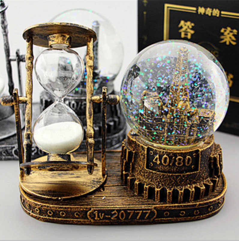 16*9CM Vintage Tower Hourglass Snow Globes Glass Music Box Home Desktop Decoration Birthday Christmas New Year   Gifts