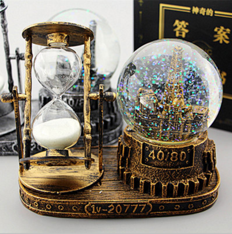 9cm Vintage Tower Hourgl Snow Globes