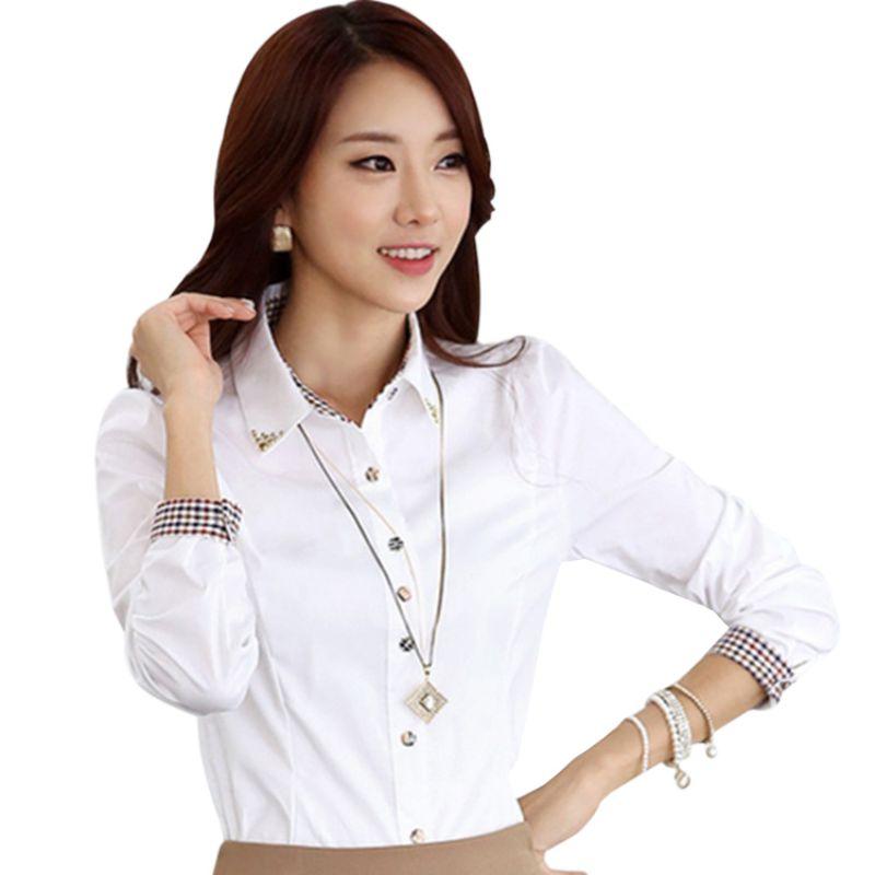 OL Work Wear Blue White Blouse Plus Size Long Sleeve Turn-down Collar Formal Elegant Ladies Female Shirt Office Lady Tops