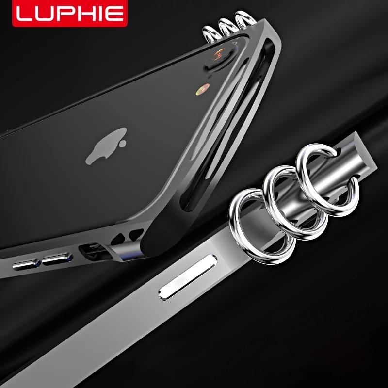 imágenes para Moda Diseño Luphie iPhone7 Isomería Side Case para Apple Caso de Parachoques Marco De Aluminio + Fibra de La contraportada para el iphone 7