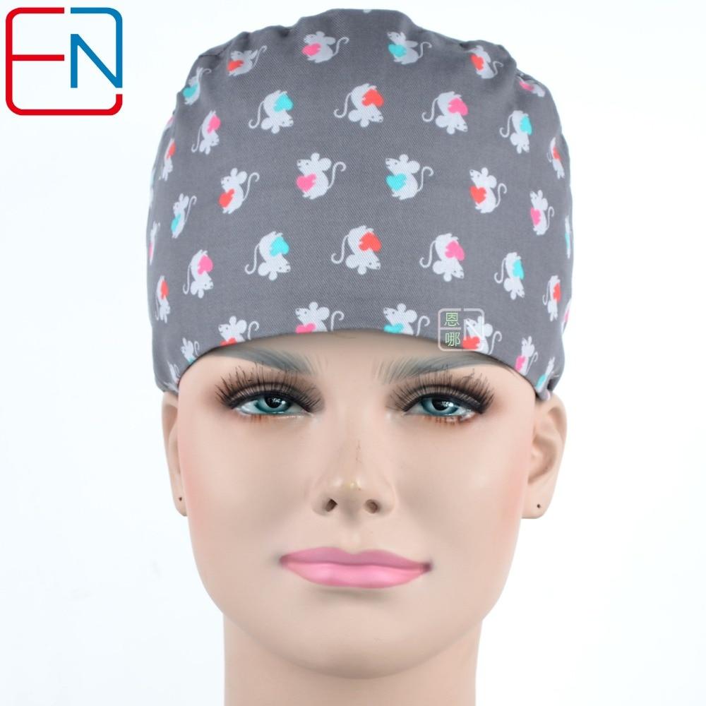 Hennar Hospital Doctor Surgical Cap Women Grey Print Nastavitelná kšiltovka Cap High Quality Cotton Lace-up Dome Hat pro ženy