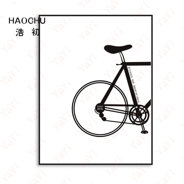 Haochu nordic canvas painting black and white cycling couple home decoration poster living room picture wall art life gift