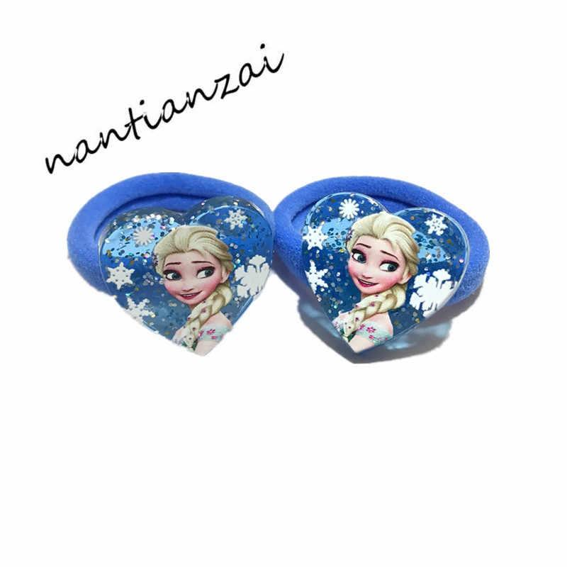 2 個少女漫画ヘアアクセサリーエルザアンナ王女のヘアバンドアクリル毛ロープの毛リングを着用頭パーティーギフト