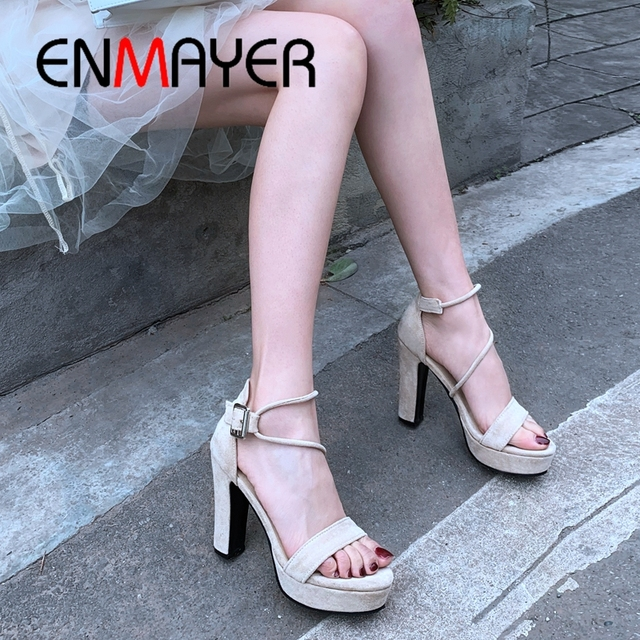 ENMAYER 2019 New Arrival Summer Fashion High Heel Platform Sandals  Flock  Basic  Party Solid Women Shoes Size 34-43 LY1856