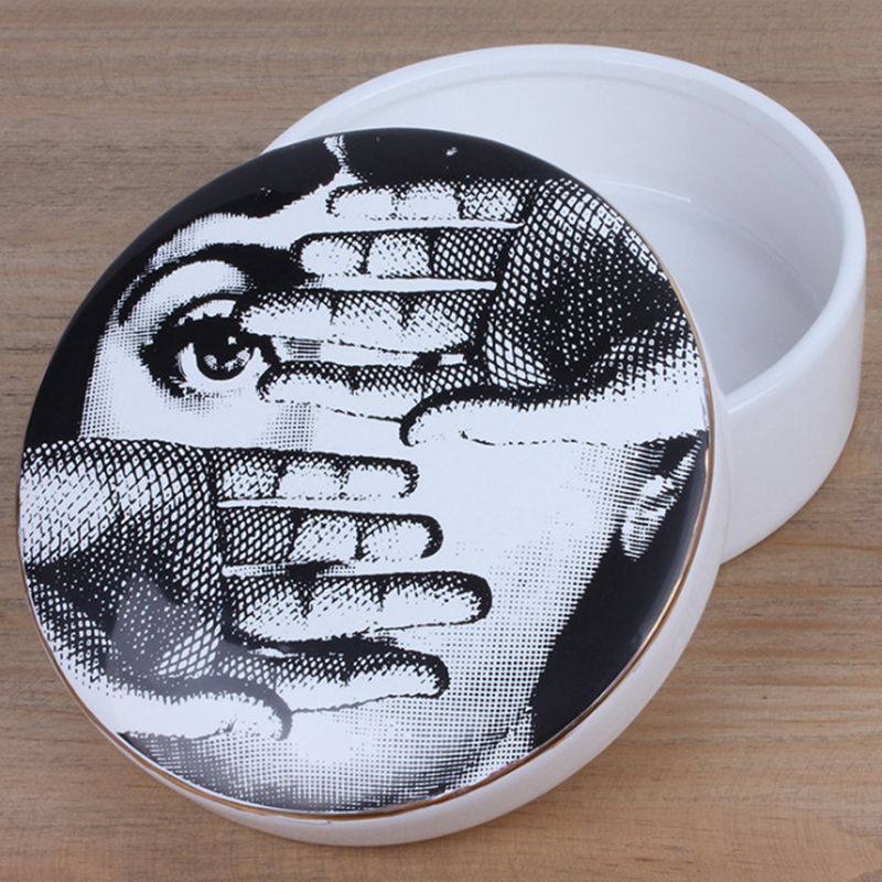 2018 Nordic Fashion Jewelry Storage Box Fornasetti Hepburn Earrings Pendant Necklace Collective Supplies Ceramic Crafts Gifts 3