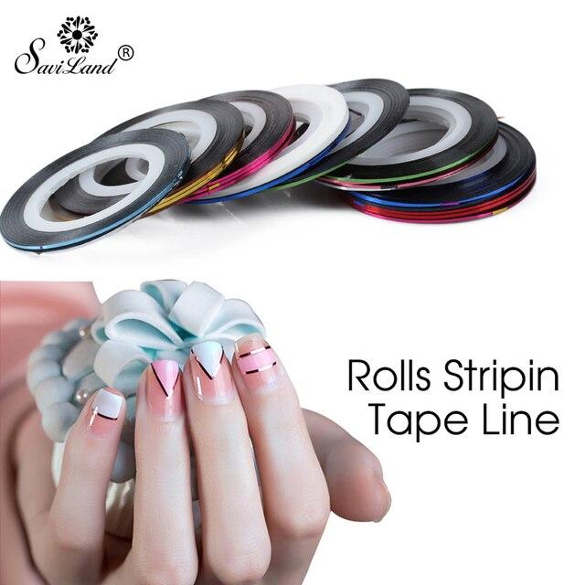 Saviland 10 teile/satz Gemischte Bunte Rollen Striping Decals Folie Tipps Band Linie DIY Design Nail art Sticker Nagel Werkzeuge Dekorationen
