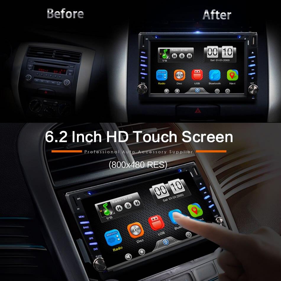 2Din Универсальная автомобильная в тире gps Навигатор Bluetooth радио CD, DVD MP3 видео Media Player Автомагнитолы центры 6,2 дюймов сенсорный экран