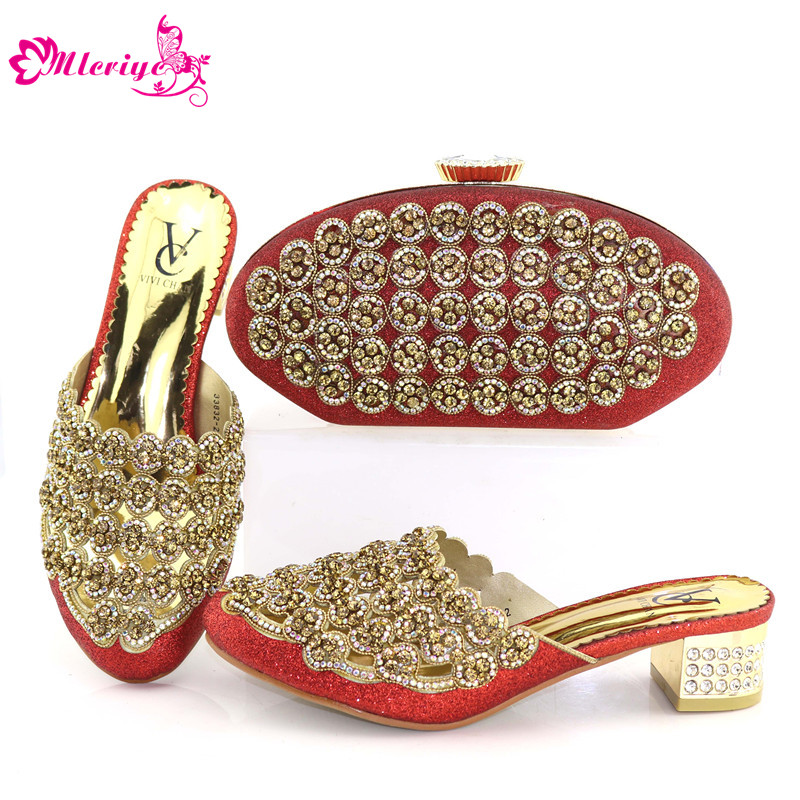 цены Italian RED Shoes With Matching Bags Shoes And Bags To Match African Shoe And Bag Set Matching Shoes And Bags party