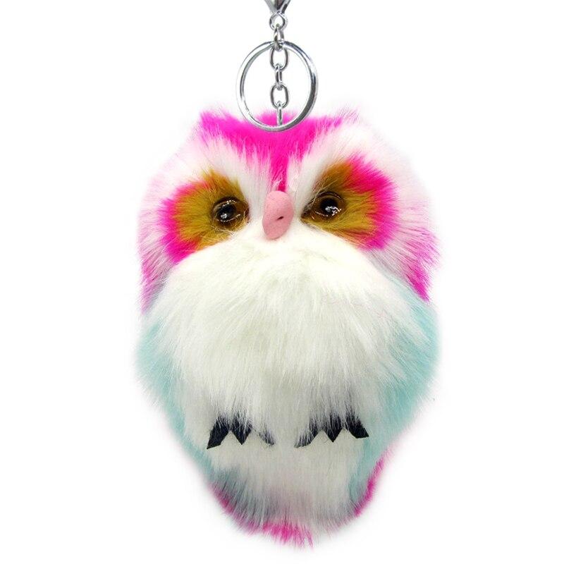 15CM Cute Fluffy Owl Keychain Pendant Women Key Ring Holder Faux Bunny Rabbit Fur Pompoms Key Chains For Handbag Plush Keyring