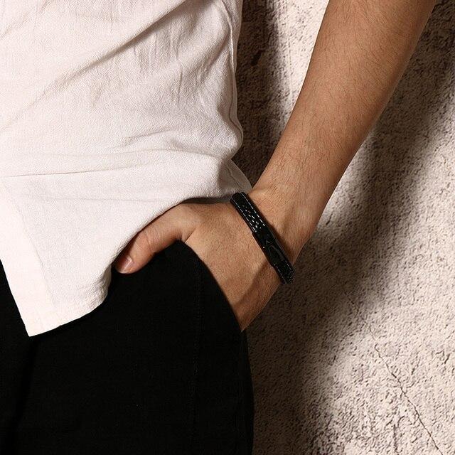 TYPE 1  DIABETES Medical Alert Bracelet Emergency Remind Jewelry Black Genuine Leather