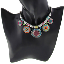New Choker Necklace Fashion Ethnic Collares Vintage Silver Plated Colorful Bead Pendant Statement Necklace For Women Jewelry