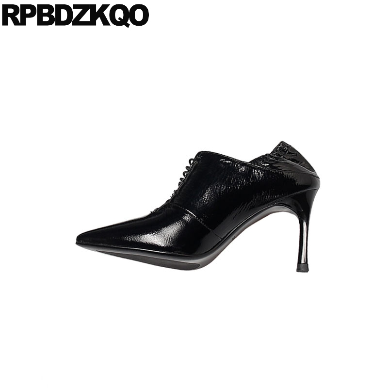Black Genuine Leather Pointed Toe Handmade Scarpin Lace Up Fashion Shoes 2019 Luxury Women High Heels Ladies Pumps Patent 8cm - 2
