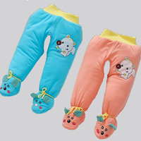 Baby Cotton padded Trousers with Socks Newborn Winter Cotton Trousers Baby Girl Boy Training Pant Baby Winter Overalls Rompers