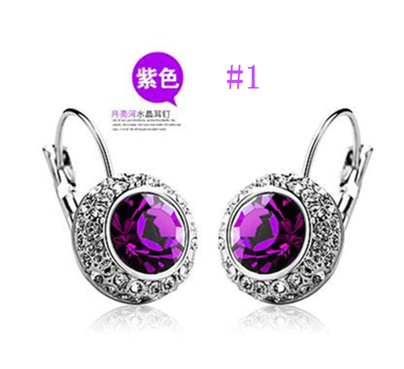 United States Dress Fashion Cute Moon River Artificial Crystal Stud Earrings Streamline Ohrringe
