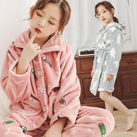 Children Christmas Pajamas Sets Flannel Cartoon Boys Girls Pajamas Winter Kids Pyjamas Cosplay Sleepwear Homewear Coat + Pants