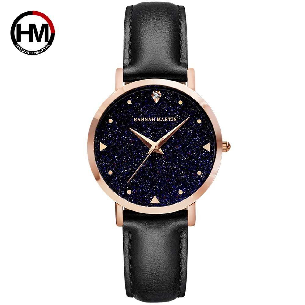 Hannah Martin Women Watches Japan Movement Shinny Bling Dial Waterproof Leather Wristwatches Reloj Hombre 2019