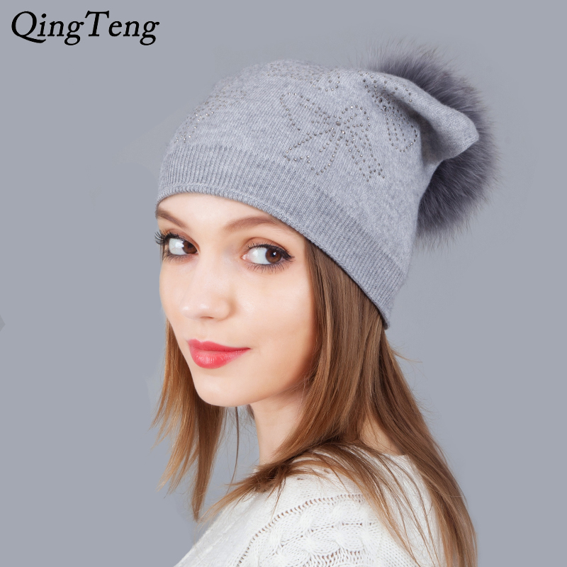 Mink Pom Pom Shining Rhinestone Hats For Women Warm Winter Cashmere Knitting   Beanie   Female Caps   Skullies     Beanies
