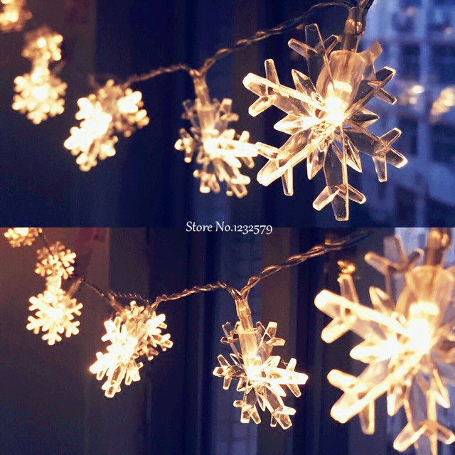 10M/33ft 80 LED Party fairy lights Battery Operated Snowflake LED ...