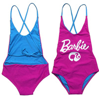 2017 Pink Barbie Bikinis Women Thong One Piece Swimwear Sexy Cut Out Letter Print Bodysuit Backless