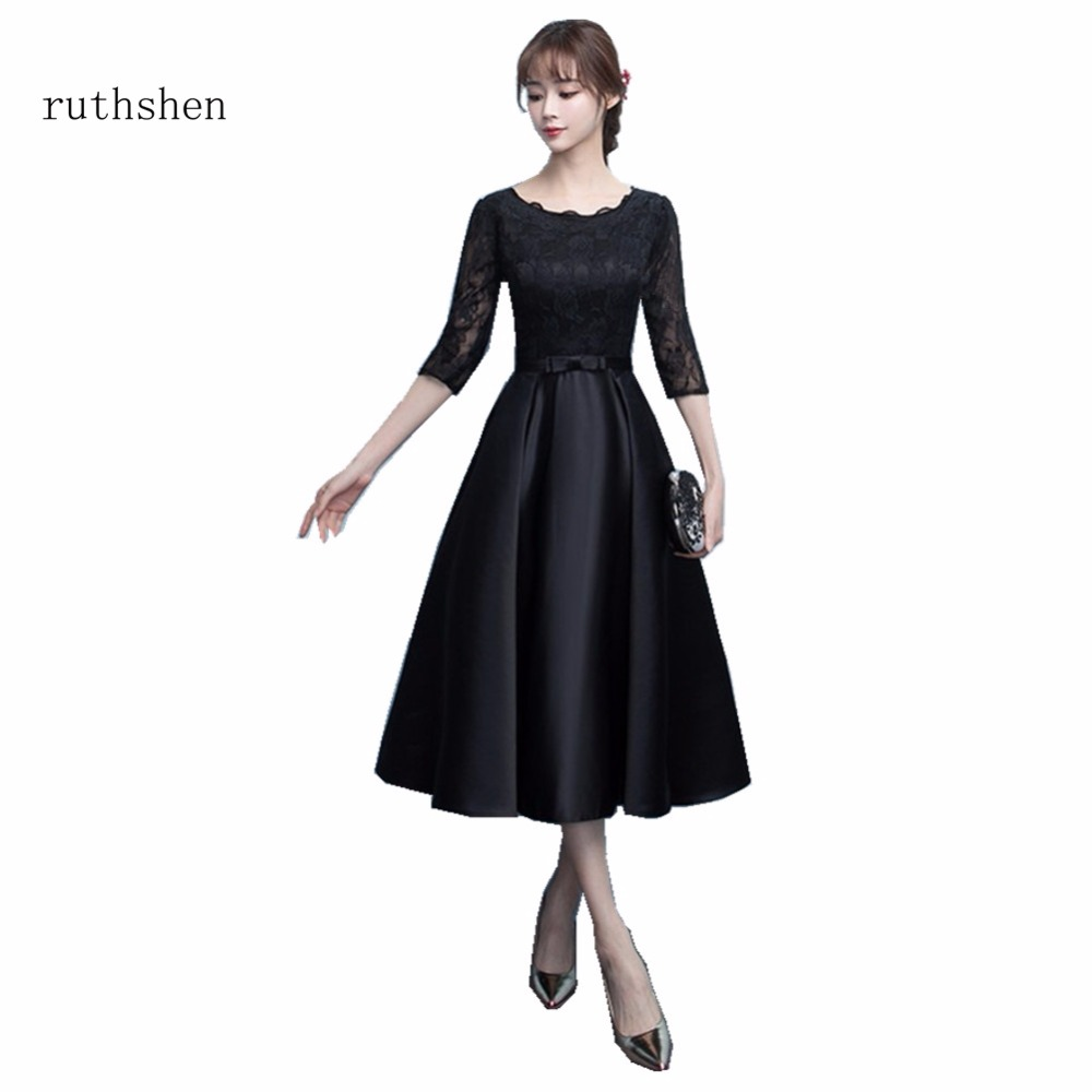 ruthshen Short Knee Length   Cocktail     Dresses   Half Sleeves Lace Black Party   Dresses   For Women Special Occasion Vestidos Coctel