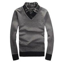 Новый осень зима 2017 мужчин свитер поддельные два куска пуловеры мужчин свитер хлопка slim fit v-образным вырезом мужчин polo свитера 40wy