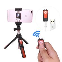 Hot ! Handheld & mini Tripod 3 in 1 Self-stick Monopod Phone Selfie Stick Bluetooth Remote Shutter for iPhone Sumsang Self-timer