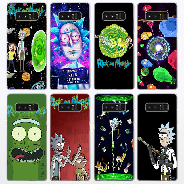 san francisco 11bf0 5be1f US $1.96 18% OFF|rick and morty Pattern Transparent frame hard Case Cover  for Samsung Galaxy Note 9 8 Note 5 S6 S7 Edge S8 S9 Plus-in Half-wrapped ...
