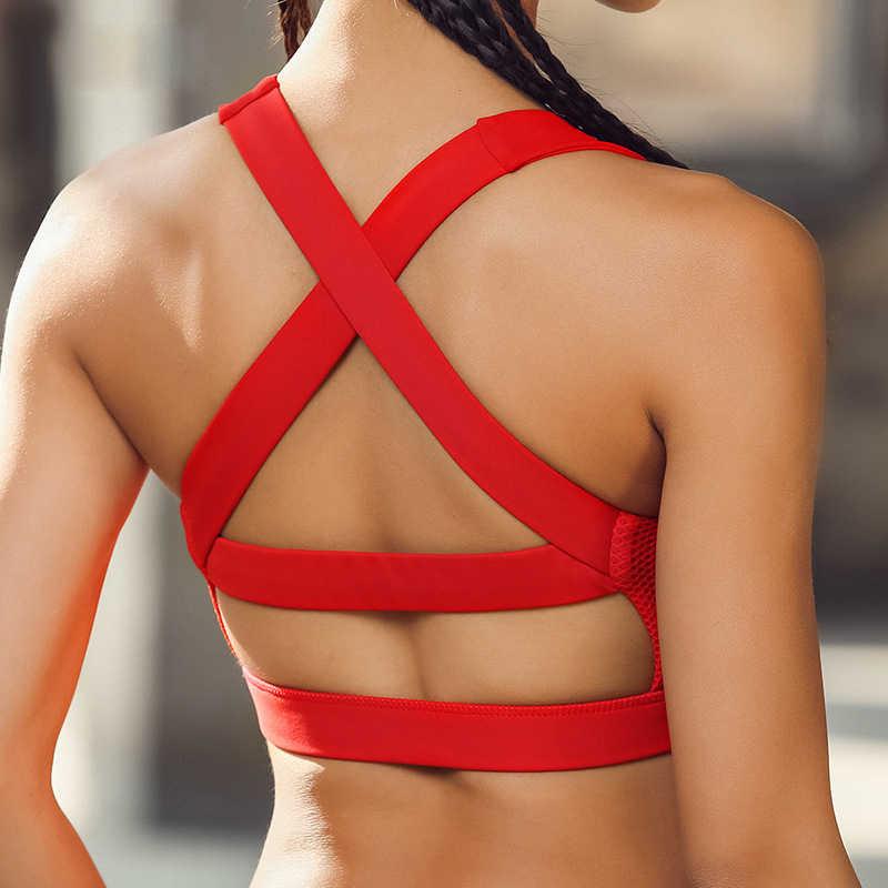 90e7d863bc Sport Bra Solid Cross Strap Black Yoga Bra Women Padded Push Up Sports Bra  Quick Dry