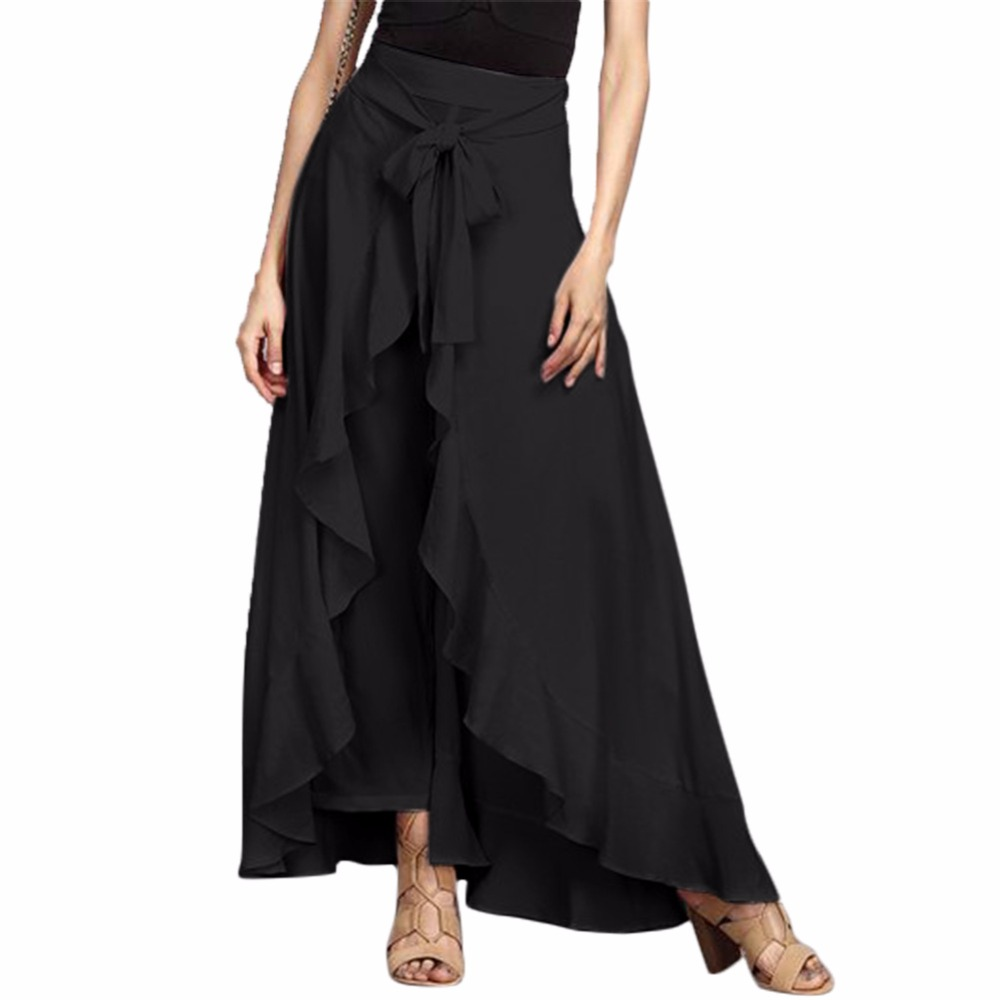 Wrap Skirts for Women 2018 New Casual Fashion Navy Chiffon Tie-Waist Ruffle Wide Leg Loose Pants Black Grey