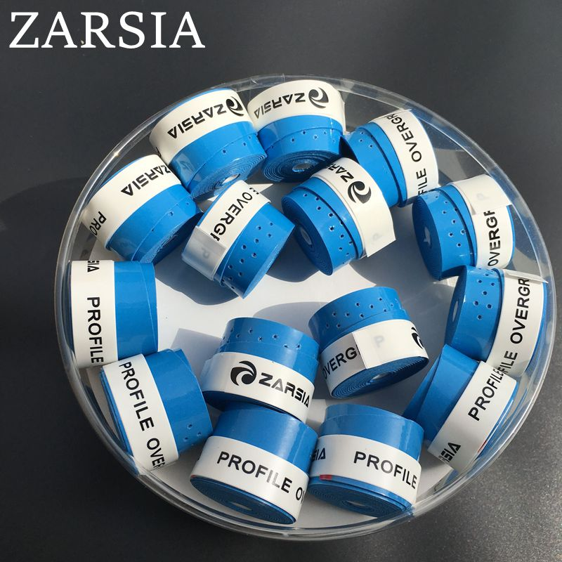 (Blue) 60 pcs ZARSIA Tacky feel tennis Overgrip, perforated Badminton Grip,tennis overgr ...