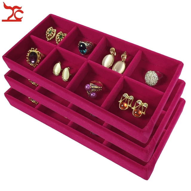 3Pcs High Quality Velvet Jewelry Display Tray Ring Earring Storage