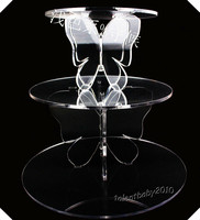 Wedding Decoration Custom Butterfly Acrylic 3 Tiers Wedding Cupcake Stand Cake Rack, Plastic Cupcake Wedding Display