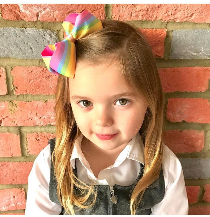 5.12 inches Boutique Rainbows hairbow Grosgrain Ribbon Hair Bows With Alliator Clips kids girls barrette 4pcs/lot 15 colors Z3