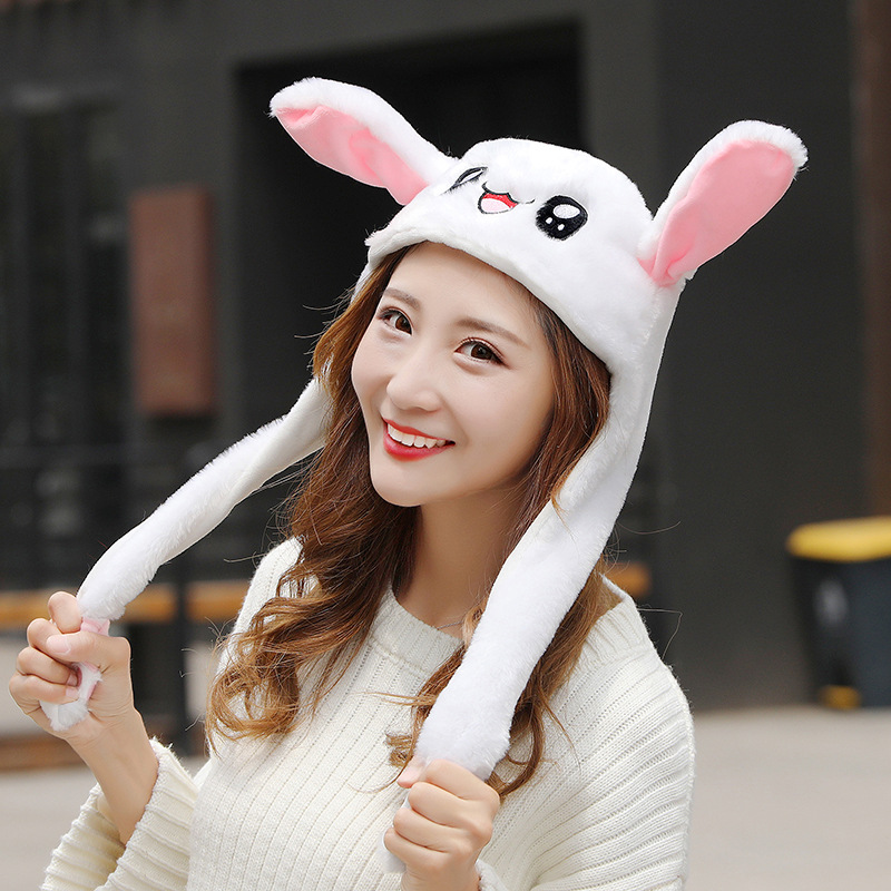 Fashion Moving Hat Rabbit Ears Plush Sweet Cute Airbag Cap Cartoon Plush Doll Toy Pikachu Lighted Hat Children  Gift Cosplay Hat