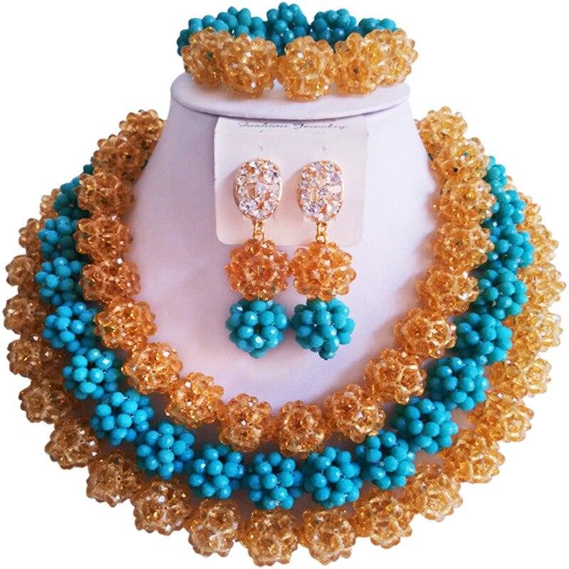 цена Ethnic Champagne Gold Opaque Lake Blue African Crystal Anniversary Beads Jewelry Set 3C-SJTQ-05 онлайн в 2017 году