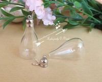 500 sets of silver + 500 sets gold 25*18mm glass globe glass ball cover vials with cup DIY Charm pendant glass bottle