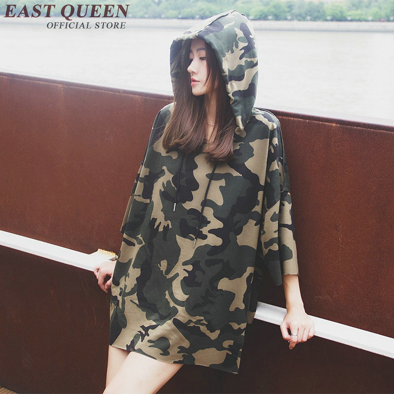 Fashion army green hoodie with a hood casual military style cotton t shirt hoodies casual woman pullovers NN0436 CQ