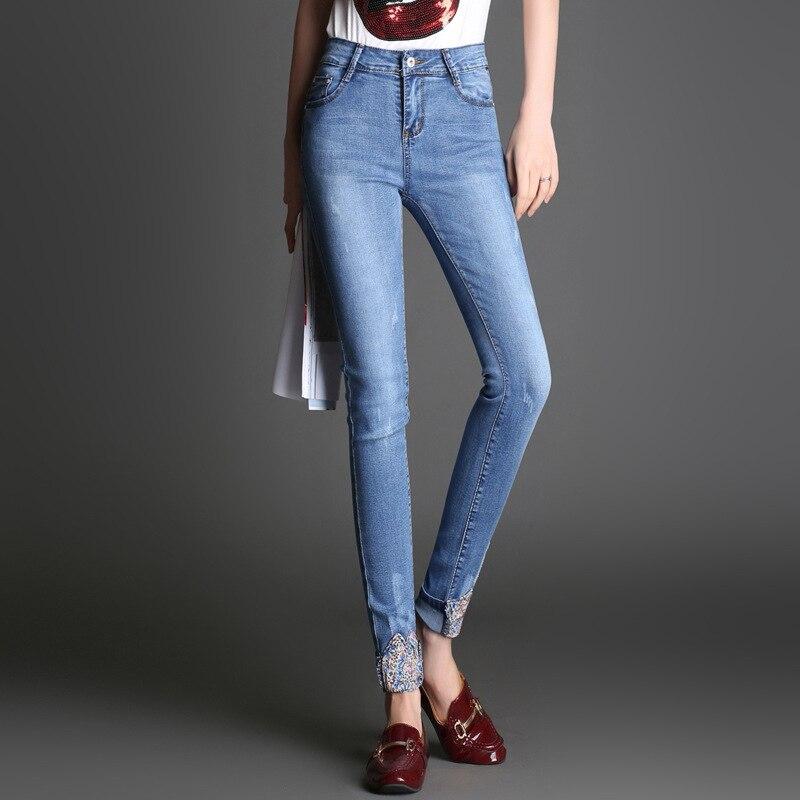 Mam осень зима джинсовые брюки 2018 корейские эластичные джинсы студенческие повседневные шаровары Высокая талия свободные брюки и капри ...