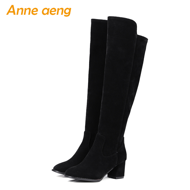 253e0fc0a3b 2019 new winter ladies kid suede shoes high square heel women knee high  boots black motorcycle winter warm boots size 34-43