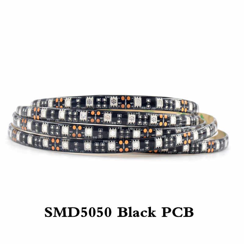 5050 SMD чип УФ светодиодные полосы света 60 светодиодов/м не водонепроницаемый белый/черный PCB ультрафиолетовая 395-410nm DC 12 V Светодиодная лента лампа для шкафа