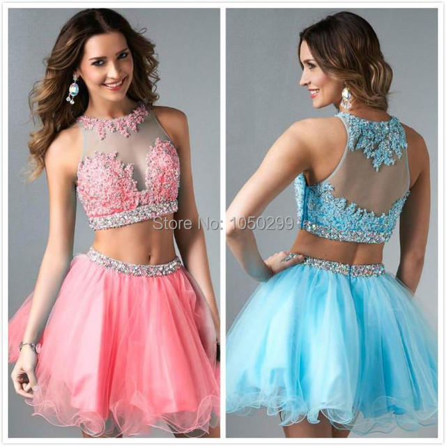 Lace Top Light Blue Puffy Short 2 Piece Prom Dress 2015 New Arrival